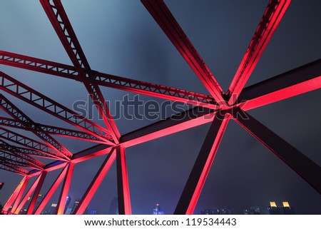 Steel structure bridge close-up night scene #119534443
