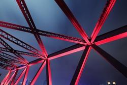Steel structure bridge red night