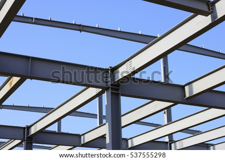 Steel structure building is under construction  #537555298