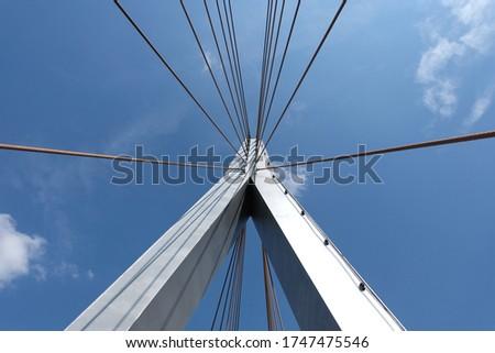 Steel Structure Pedestrian Footbridge Details Stok fotoğraf ©