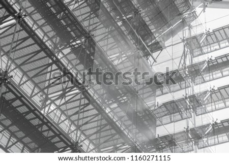 Steel structure roof of office building. Windows glass facade supported. Abstract architecture fragment background. #1160271115
