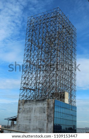 Steel structure, sky background