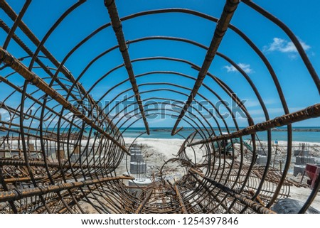 Steel structures for construction close to the sea. #1254397846