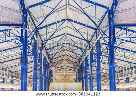 steel structures metal construction roofs in shopping mall #581041123