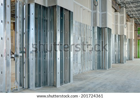 Steel Studs Used To Frame In A Large Commercial Building