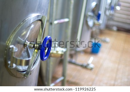 Steel tanks in a brewery