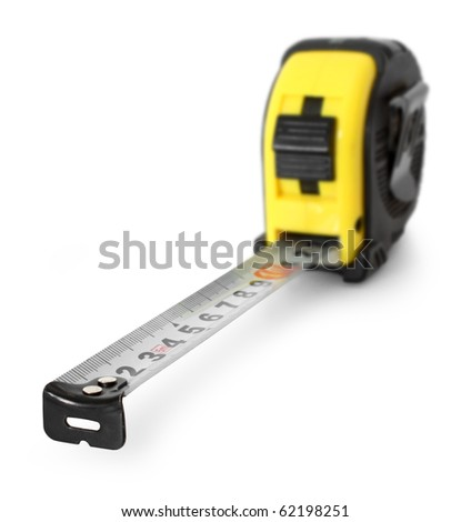 Steel tape measure tool isolated on white background, focus in front