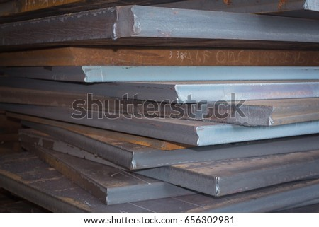 Steel texture, Steel stack, Steel industry background.