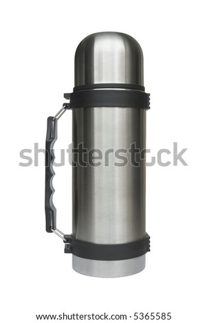 Steel thermos, isolated on white background