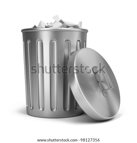 steel trash can. 3d image. Isolated white background.