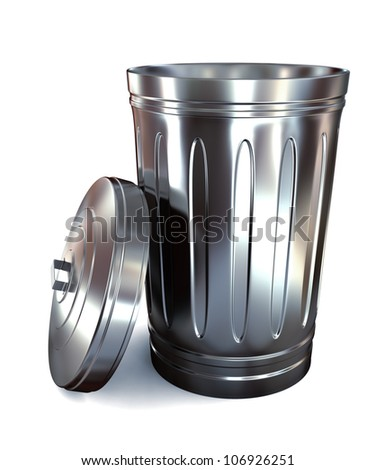 Steel trash can on white background