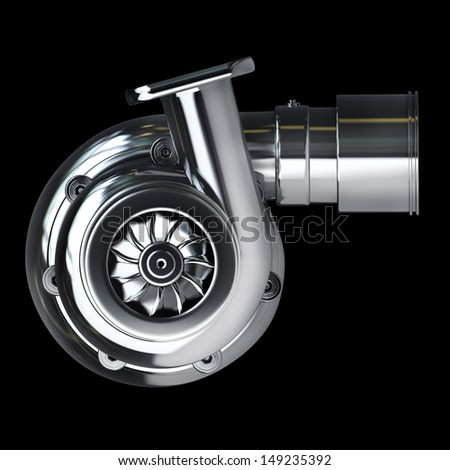 Steel turbocharger isolated on black background. High resolution 3d render