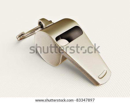steel whistle isolated on a white background