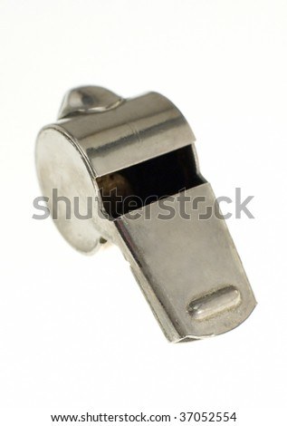 steel whistle isolated on white background, vertical photo