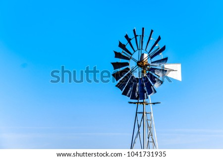 Steel Windpump in the semi desert Karoo region in South Africa