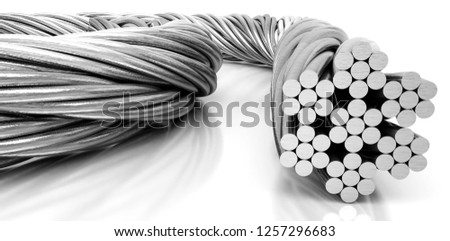 Steel Wire cable, 3d illustration Foto d'archivio ©