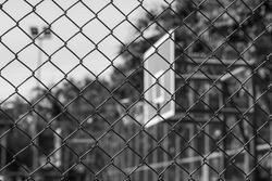 Steel wire mesh fence  Basketball court Monochrome