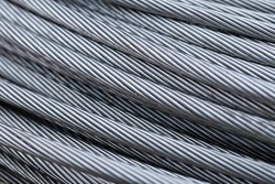 Steel wire rope cable closeup
