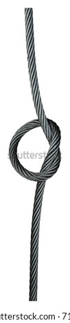 Steel wire rope knotted isolated on white background.