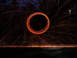 Steel Wool fire spinning portrait