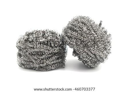 Steel wool scrubbing pots