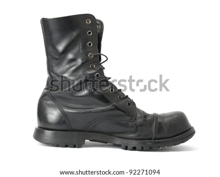 Steelcap leather boots isolated on white