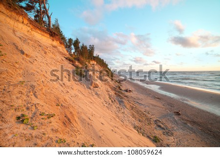 Steep coast of Baltic sea, Latvia , Europe.