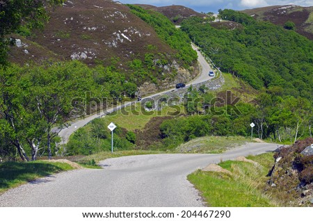 Steep Coastal Road north of Ullapool, Scotland #204467290