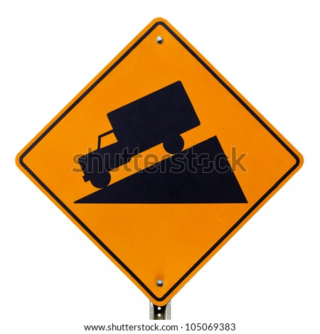 Steep grade hill ahead warning roadsign, steep descent ahead, trucks gear down warning signage road sign on signpost pole isolated on white background