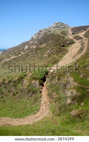 Steep path to the summit above Chapel Porth, Cornwall, UK.