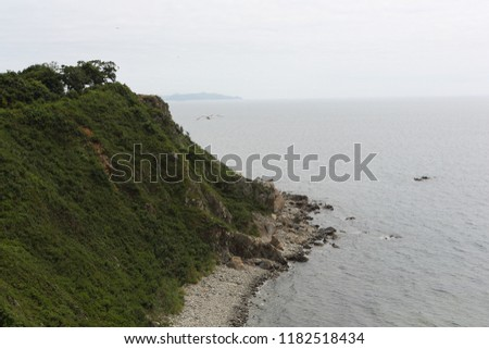 steep seashore. a steep seashore covered with grass #1182518434