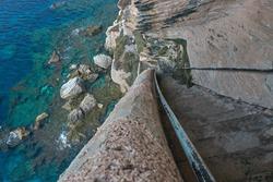 Steep stairs to the sea of the king of aragon in Bonifacio, corsica