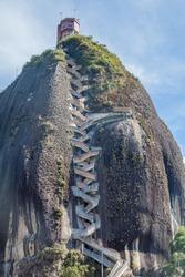 Steep steps rising up Piedra el Penol, Colombia.
