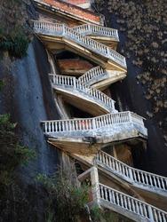 Steep steps rising up Piedra el Penol, near Medellin, Colombia.
