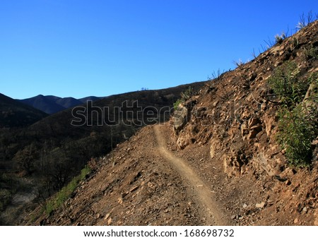 Steep trail ascending a hill side, California
