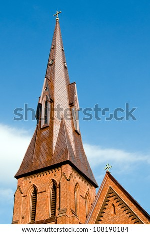 Steeple of historic church in Huntsville, Alabama