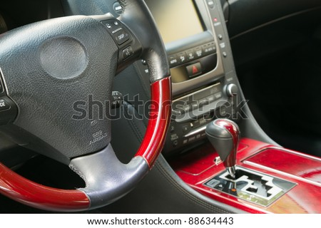 Steering wheel and gear shift stick of in luxury car