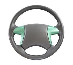 Steering wheel for car and truck isolated on white background. Automobile vehicle part or equipment. Round modern style consist of black leather and aluminum. For driver to driving control and tuning.