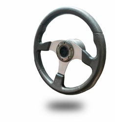 Steering wheel isolated from white background