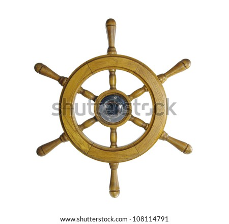 steering wheel of sailing-ship on a white background