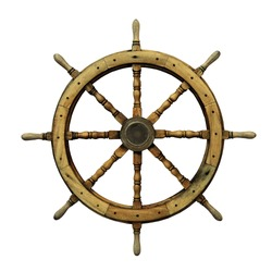 Steering wheel of the ship isolated on white