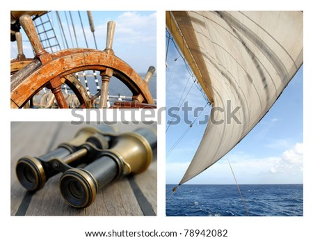 Steering wheel of the ship / Sails and the sea