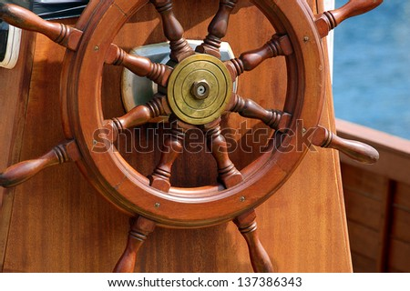 Steering Wheel Sailboat / Steering wheel of the old sail ship