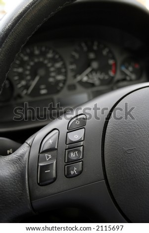 steering wheel with light and sound control buttons