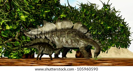 Stegosaurus 03 - A Stegosaurus baby looks to its mother to find the best eating foliage.