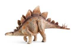 Stegosaurus, genus of armored dinosaur. Side view, dinosaurs toy, isolated on white background with clipping path.