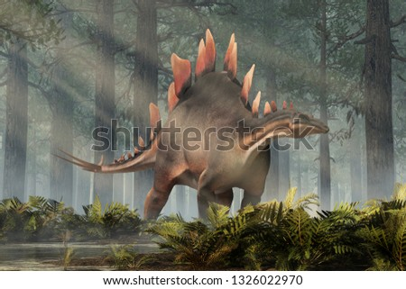 Stegosaurus, was a thyreophoran dinosaur. An herbivore, it is one of the best known dinosaurs of the Jurassic period. Here, a grey and brown one is standing in a Jurassic era forest. 3D Rendering.