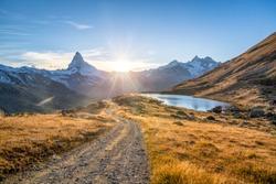 Stellisee and Matterhorn mountain in the Swiss Alps, Switzerland