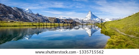 Stellisee panorama with Matterhorn in the background, Zermatt, Swiss Alps, Switzerland