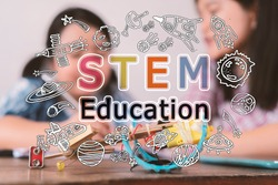 STEM education background. STEM - science, technology, engineering and mathematics background with doodle icon education. Education doodle or education STEM background concept.